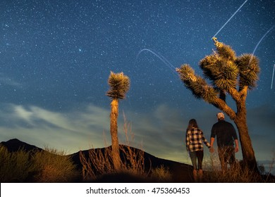 Couple Stargazing at Joshua Tree National Park, focus on trees, some motion blur, long exposure