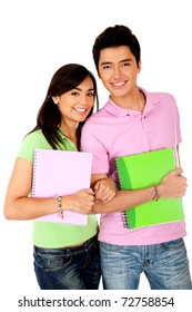 Couple of students with notebooks ? isolated over a white background