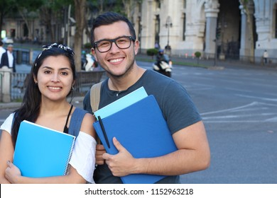 Couple of students on the street