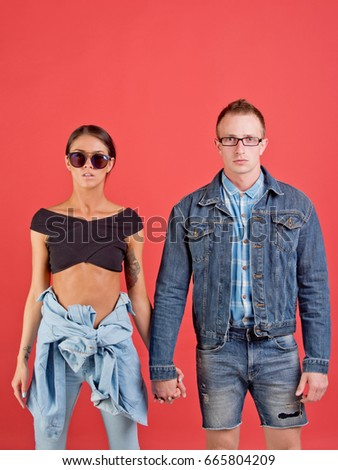 a957297c9e68 Couple Stylish Woman Man Sunglasses Glasses Stock Photo (Edit Now ...