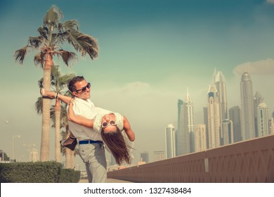 Couple summer vacation travel. Dubai famous travel destination.