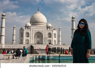 couple at the tajmahal the symbol of love image is take at agra uttar pradesh india on 02 apr 2019. It is one of the seven wonders of the world as well as UNSCO world heritage site.