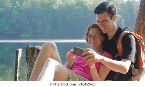 Couple taking picture together