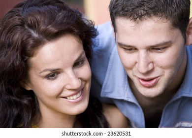 Couple talking and laughing