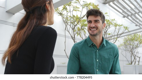 Couple talking at outdoor
