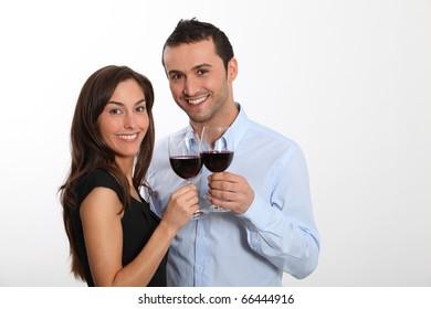 Couple tasting red wine