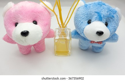 Couple teddy bear on the white background in vintage style. Digital effects for background