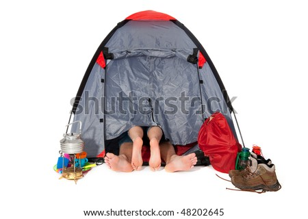 couple in tent at campground isolated over white
