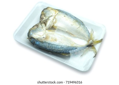 Couple of Thai mackerel wraped in plastic foam. Isolated on white background with Clipping path. Thai tradition al food.