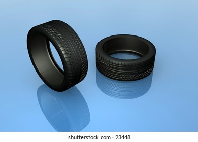 A couple of tires  high res designed in 3dsmax.