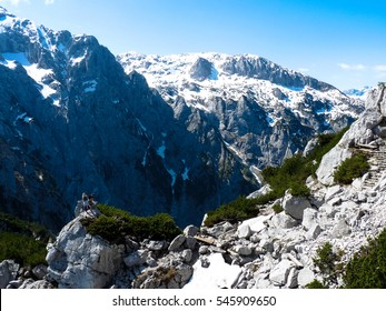 A couple of tourist and view from Eagles nest in the bavarian Alps near Berchtesgaden in Germany