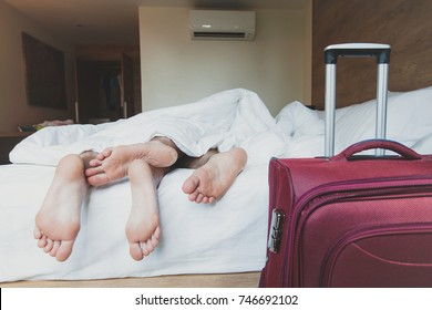 couple of tourists sleeping in hotel room, travel accommodation