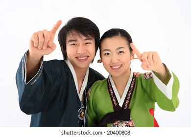 Couple in Traditional Korean Dress