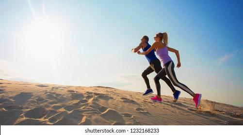 Couple training hard together