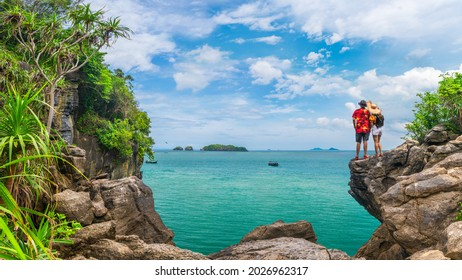 Couple traveler on beach joy nature scenic panorama view landscape island, Adventure attraction place tourist travel Thailand summer holiday vacation trip, Tourism beautiful destination Asia - Shutterstock ID 2026962317