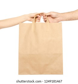 Couple two hands male female bag package on white background isolation