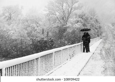 Couple under umbrella on bridge in winter park.  Snow flurry.
