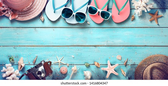 Couple In Vacation Concept - Beach Summer Accessories On Vintage Plank