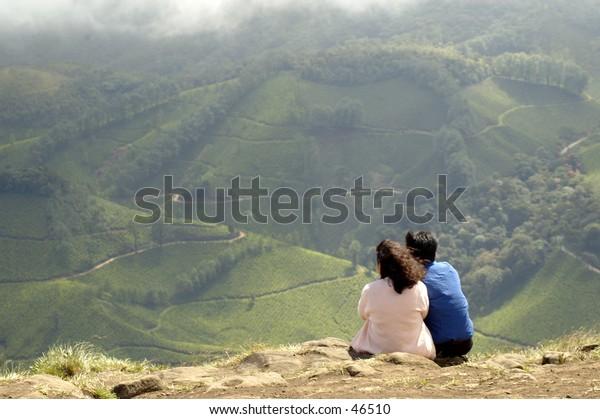 Couple viewing hillside