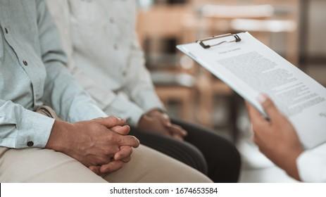 Couple visiting psychologist. Family problem