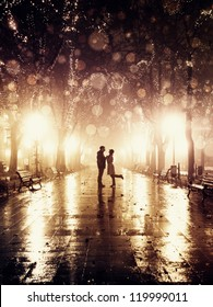 Couple walking at alley in night lights. Photo in vintage style.