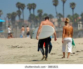 Couple Walking ALong Beach in Southern California