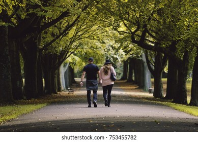 Couple walking in autumn