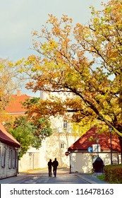 Couple walking in the autumn town