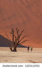 A couple walking in Deadvlei, Namibia.