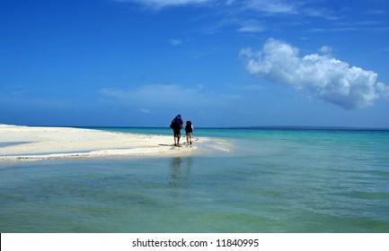 Couple walking on beautiful beach