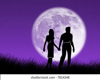 Couple walking towards the moon as symbol of love