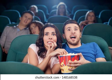 Couple watching horror movie. Terrified people in watching movie at the cinema