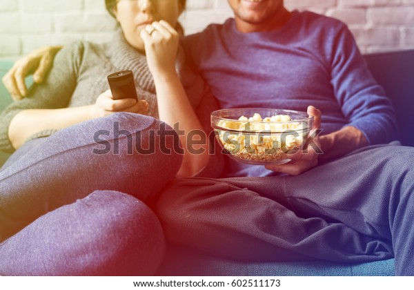 Couple Watching TV Home Relax Togetherness
