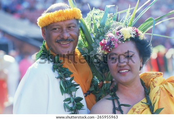 Couple Wearing Polynesian Costumes Hawaiian Unity Stock