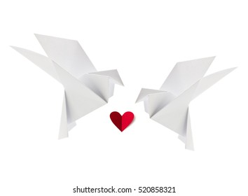 Couple white loving dove of origami with red heart. Isolated background