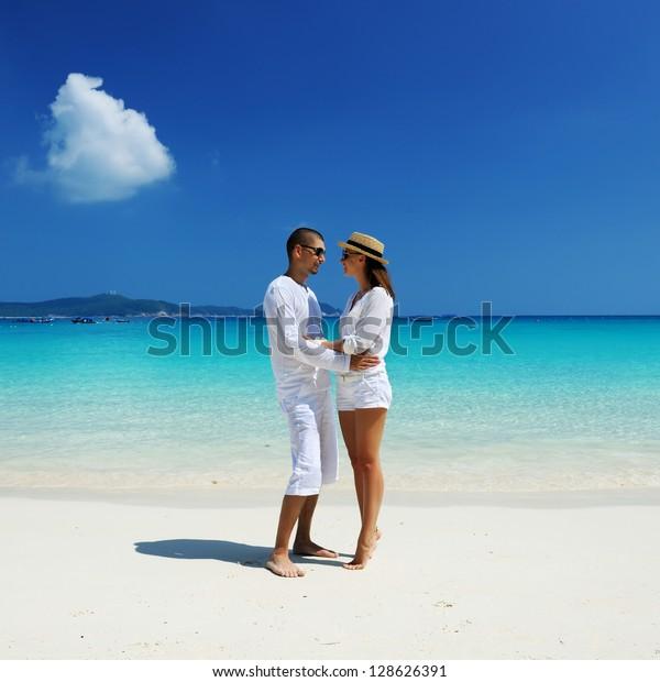 Couple White On Tropical Beach Stock Photo (Edit Now