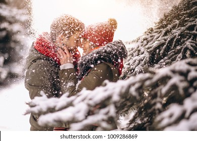 Couple in winter by the fir tree under falling snow