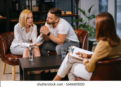 couple, woman and man try to explain family situation to professional psychologist, married on brink of divorce, confident and credible lady psychologist listen and support, give right ways