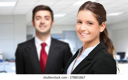 Couple of young business people