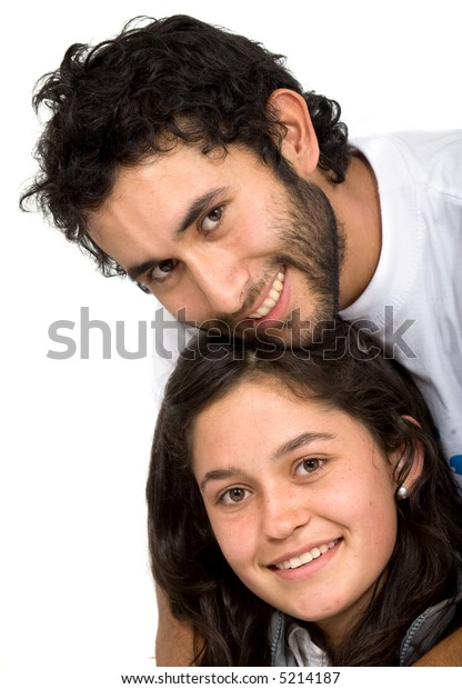 couple of young friends portrait - over a white background