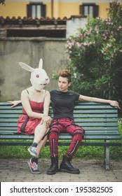 couple young lesbian stylish hair style woman rabbit mask in the city