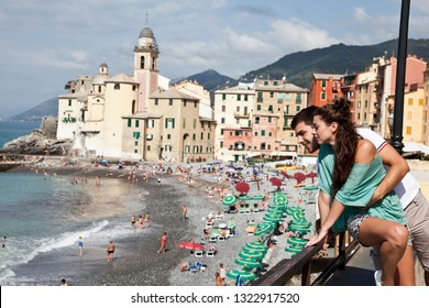 Couple of young tourists visiting Camogli. Liguria. italy