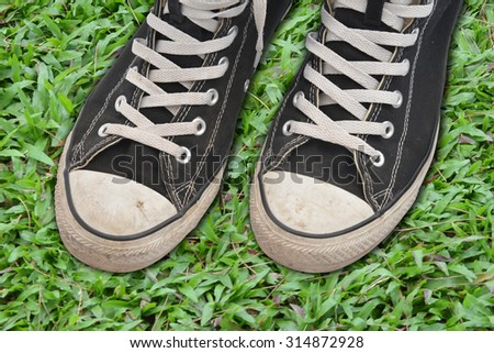 0ae5b79b Couple youth sneakers, black and white sneakers, shoes on the green grass,