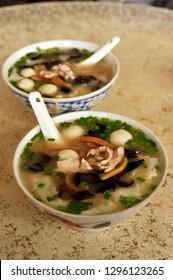 A coupled big bowl of diang biang hu in a coffeshop in Sibu, Sarawak, MAlaysia.