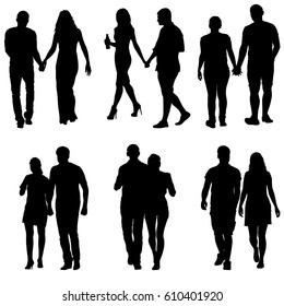 Couples man and woman silhouettes on a white background. illustration