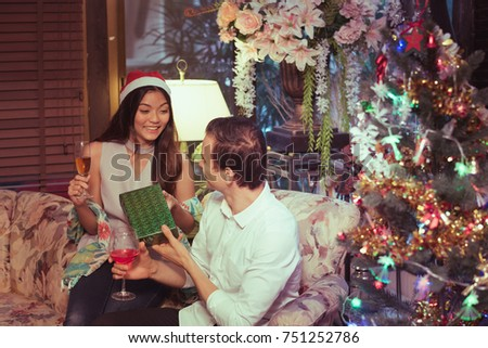 couples in meeting holiday party happy new year and merry christmas concept