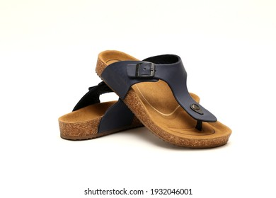 Couples Men sandal footware navy with white background