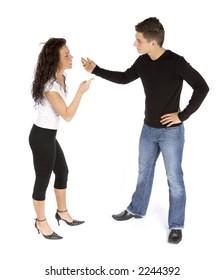couple's quarrel (white background)