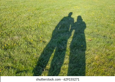 A couple's shadows forming their silhouette to the grass