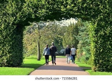 Couples walking under famous century old beech hedge in Edinburgh Royal Botanical Gardens, popular tourist attraction. Edinburgh Scotland UK. September 2017